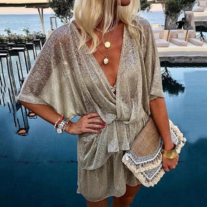 Adoradress Fashion Paillette Batwing Sleeve V Neck Ruffled Casual Mini Dress