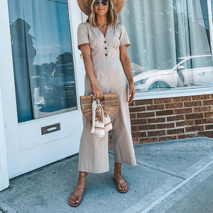 Pure Color V-Collar Short-Sleeved Wide Leg Jumpsuit