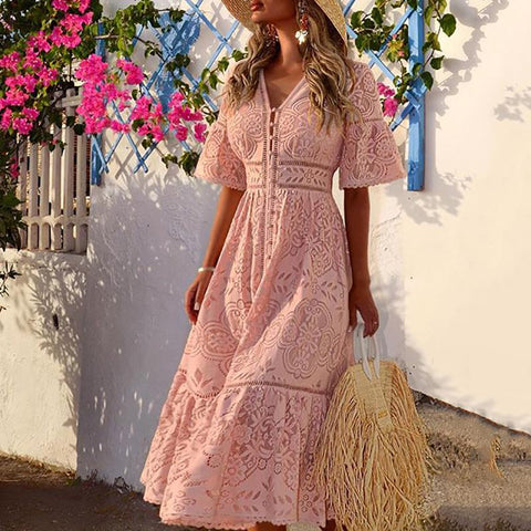 Sweet V Neck Hollow Out Single-Breasted Lace Long Dress