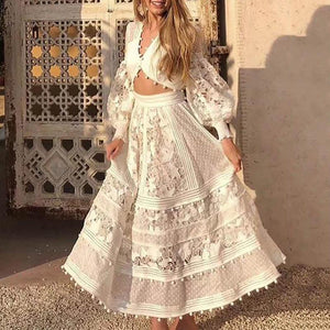 Sweet V Neck Hollow Out Lace Pure Colour Dress