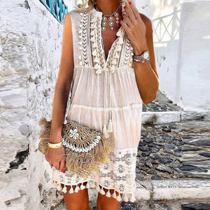 Fashion Inwrought Tassel V Neck Jumper Vacation Casual Mini Lace Dress