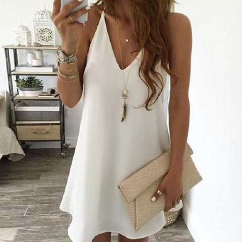 Casual Chiffon Sling V-Neck Large Swing Mini Dress