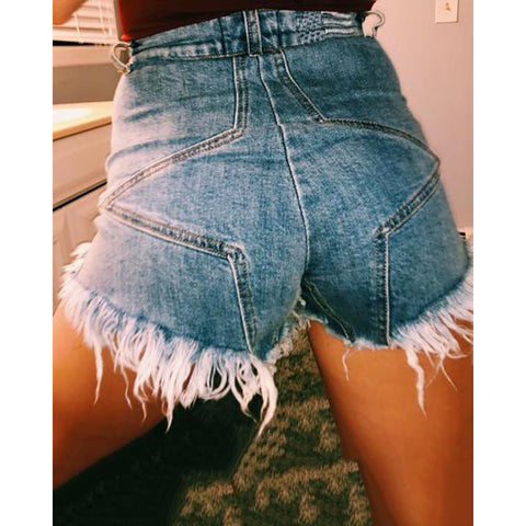 Fashion Pure Color High Waist Cowboy Shorts