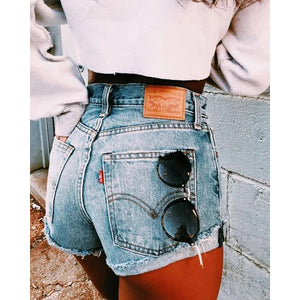 Pure Color High-Waisted Curled Side Denim Shorts