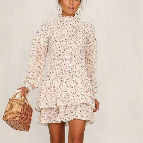 Fashion Flower Printed Long Sleeve Tiered Ruffled Lace Dresses