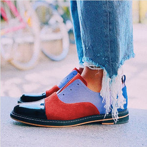 Vintage Round Head Color Matching Women Flat Shoes