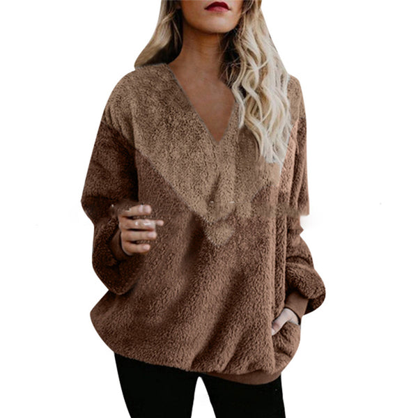 Women's Stitching Loose Long-Sleeved Sweater Top