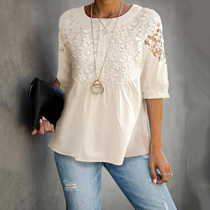 Casual Lace Hollow Out Round Neck Shirt
