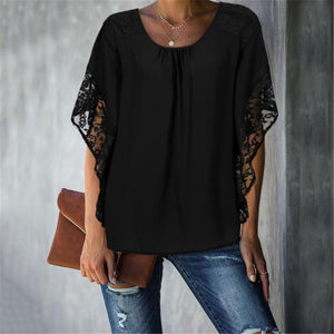 Women's Lace Solid Color Loose Shirt