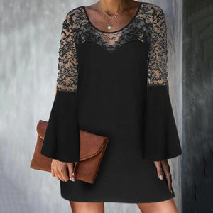 Elegant Round Neck Long Bell Sleeves Lace Patch Dress