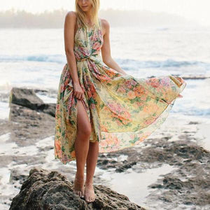 Bohemia Floral Print Open-Back Dress