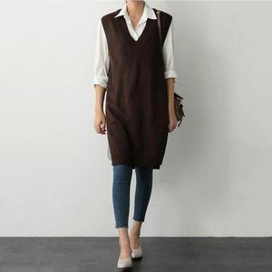 Casual V Neck Pure Colour Knitted Vest