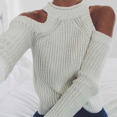 Women's casual solid color choker sweaters