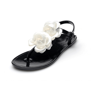 Fashion Camellia Flower Flat Sandals