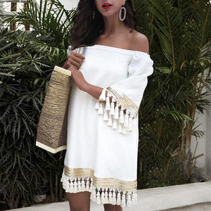 Bohemian Tassel  Splicing Dress