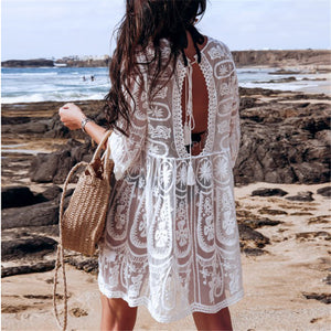 Beach lace backless sexy blouse