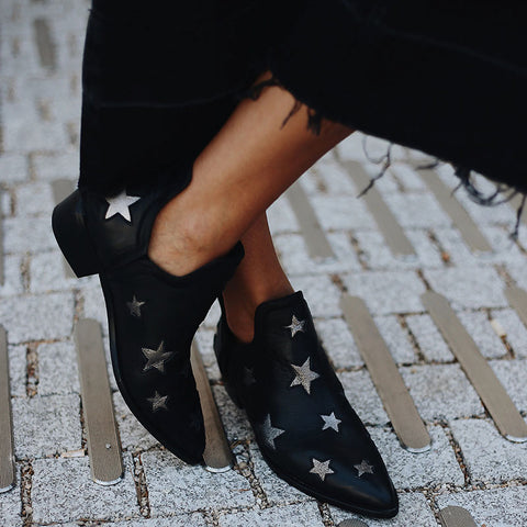 Women Fashion Mid Heel Star Pointed Toe Boots