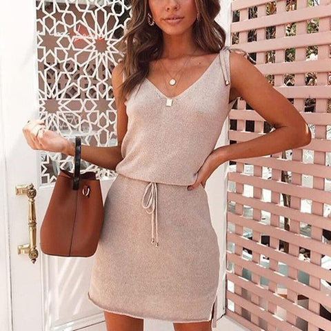 Fashion Solid Color Slim V-Neck Sleeveless Mini Dress