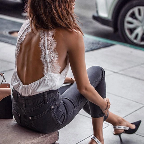 Sexy Bare Back Off-Shoulder Sleeveless White Colour Lace Vest