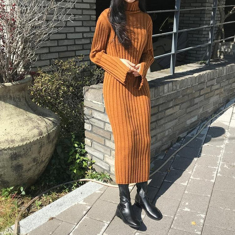 Casual Simple High Collar Knitted Maxi Dress