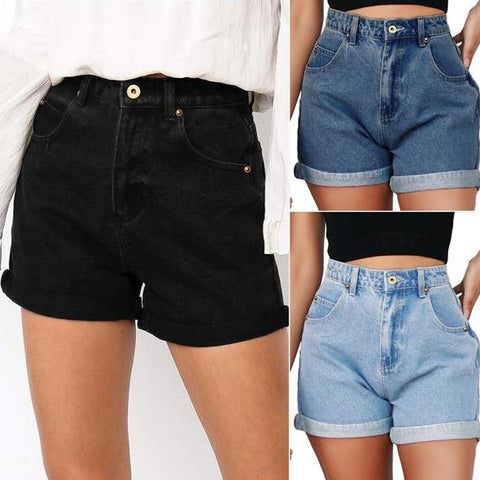JOJORUBY Loose Slim High Waist Hem Denim Shorts