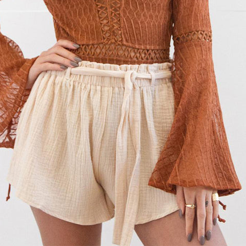 Elasticated Waist Loose Pleated Shorts
