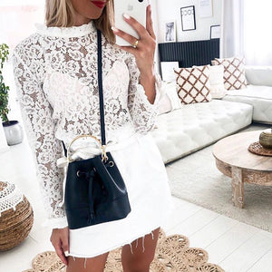 sexy lace see-through long sleeves ruffled neck shirt