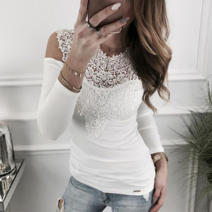 Women's Sexy Lace Splicing V Neck T-shirt