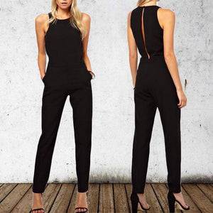 Fashion Round Neck Sleeveless Pure Colour Jumpsuits