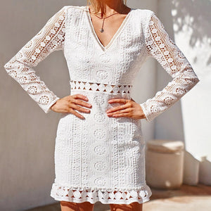 Sexy V-collar Lace Hollowed Out Long Sleeved Dress