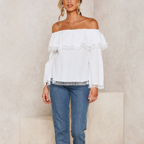Women's Fashion Sexy Word Shoulder Tassel Top