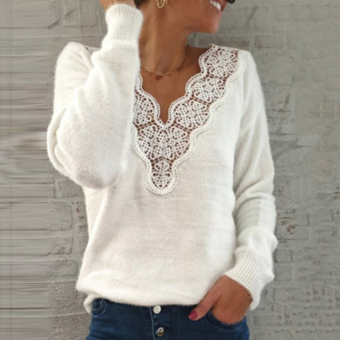 Ladies Fashion V-neck Lace Hollow Solid Color Sweater