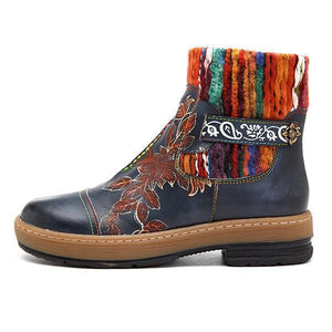 Fashion Bohemian Handmade Leather Stitching Wool Knitting Crafts Women's Boots