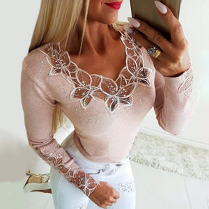 Casual Long Sleeve Patchwork T-shirt