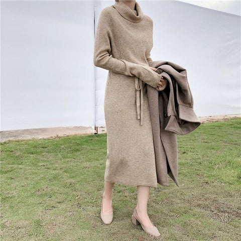 Fashion Long Sleeves High Collar Shown Thin Knitted Sweater Maxi Dress