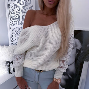 Fashion Off-the-shoulder Hollow Solid Sweater