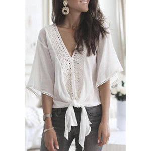 Deep V Collar Lace Regular Casual Plain Bell Sleeve Long Sleeve Shirts