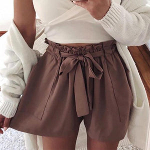 Lace-Up Pocket High Waist Shorts