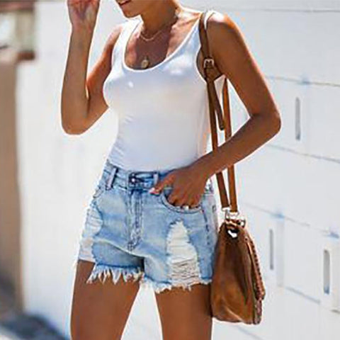 Shredded Tassel Street Denim Shorts