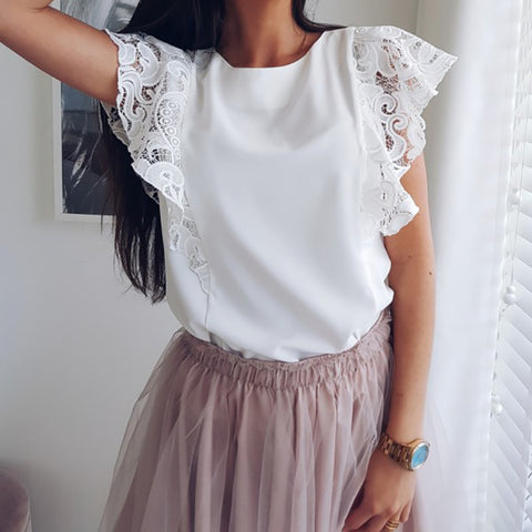 Lace spliced short-sleeved shirt