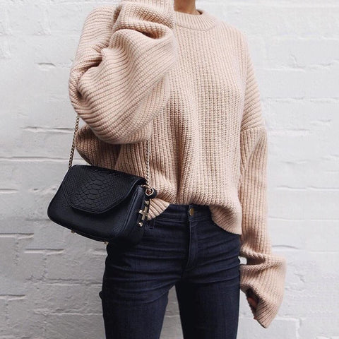 Casual Long Sleeve Round Neck Sweater