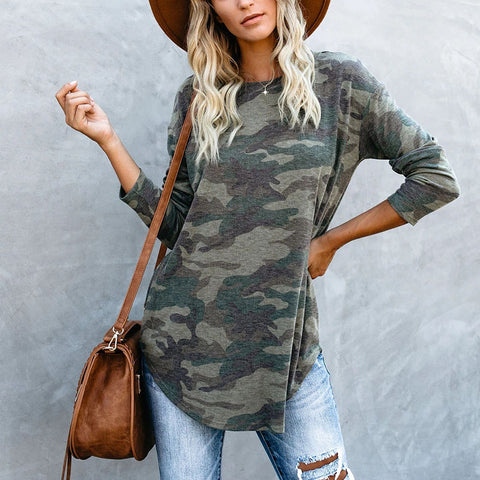 Casual Camouflage Pattern Long Sleeve T-Shirt