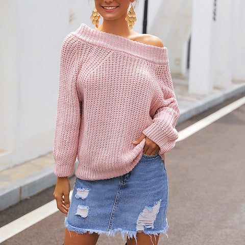Fashion Solid Off-The-Shoulder Sweater