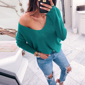 Sexy Loose V Neck Pure Color Sweater