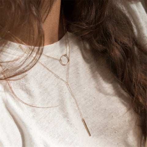 Simple Casual Multilayer Circle Long Clavicle Necklace