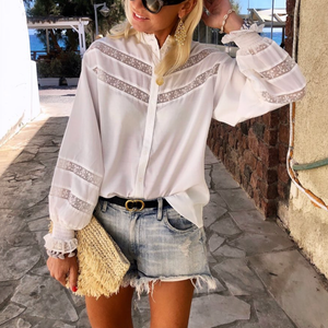 Casual Patchwork Long Sleeve Shirt