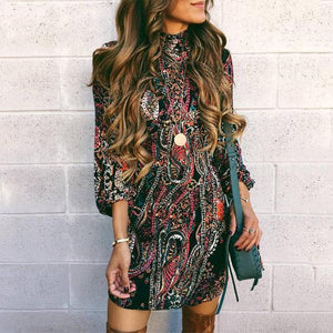Autumn and winter   fashion high-collared long-sleeved hip Mini dress