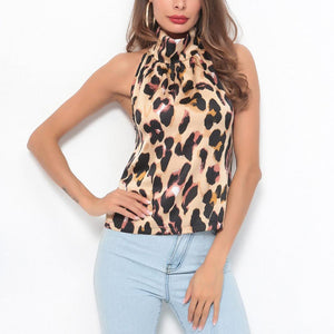 Sexy Halter Leopard Printed Fashion Camis Blouse