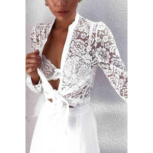Casual Long Sleeve Embroidery Lace Blouse