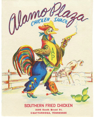 Alamo Plaza, Chattanooga, Tennessee, 1950s Menu Art